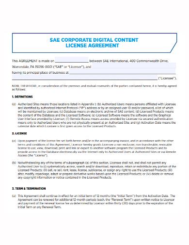 corporate digital content license agreement