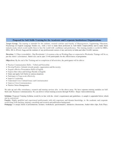 corporate organization skills training proposal