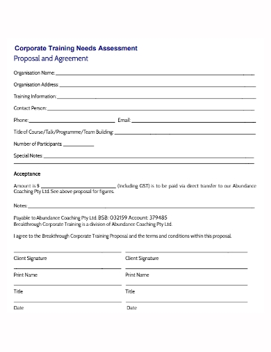 corporate training agreement proposal