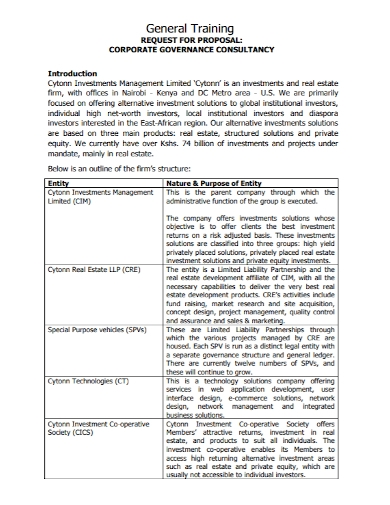 corporate training consultancy proposal