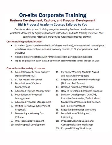corporate training development proposal