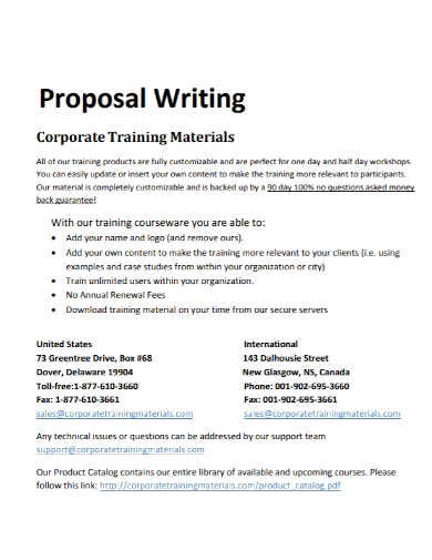 corporate training materials proposal