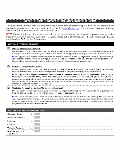corporate training proposal form