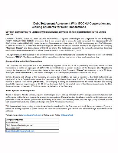 corporation debt settlement agreement