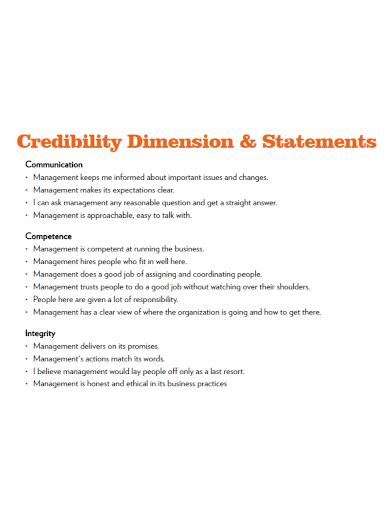 credibility dimension statement