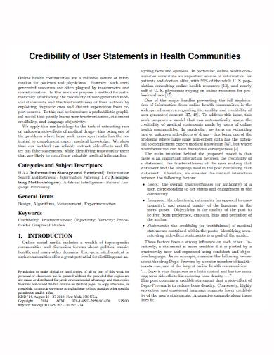 credibility user statement