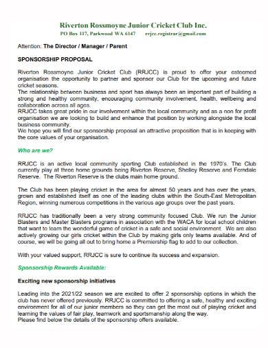 cricket club sponsorship proposal