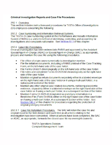 criminal case investigation report