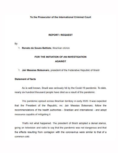 criminal court investigation report
