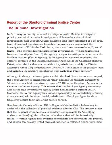 criminal investigation justice report