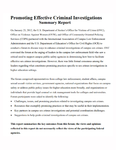 criminal investigation summary report