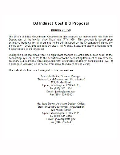 dj cost bid proposal