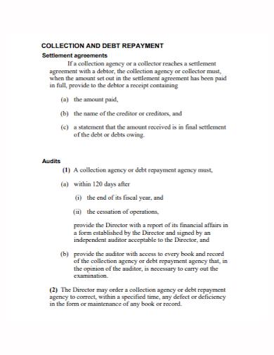 debt collection payment settlement agreement