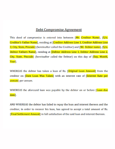 debt compromise settlement agreement