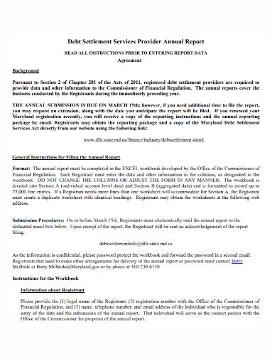 debt settlement annual report agreement