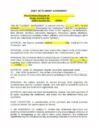 debt settlement contract agreement