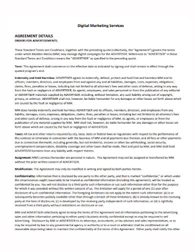 digital marketing advertisement services agreement