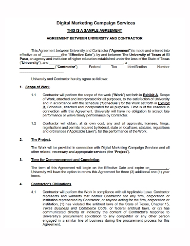 digital marketing campaign services agreement