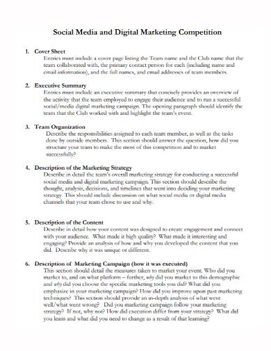 digital marketing competition executive summary