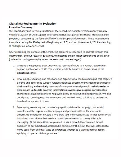 digital marketing evaluation executive summary