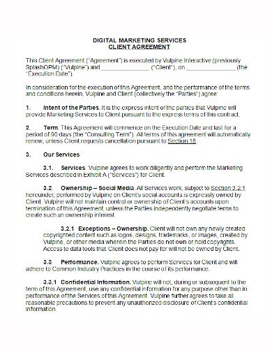 digital marketing services client agreement