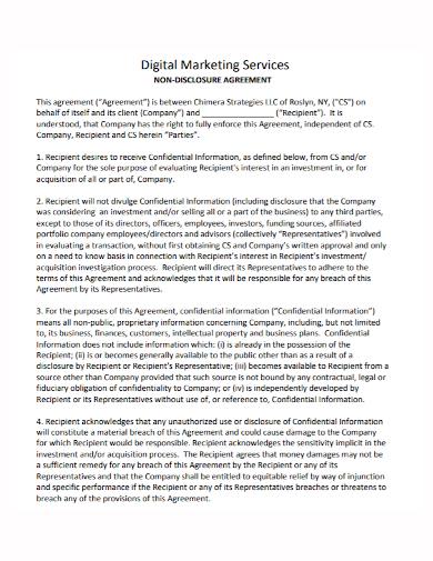 digital marketing services non disclosure agreement