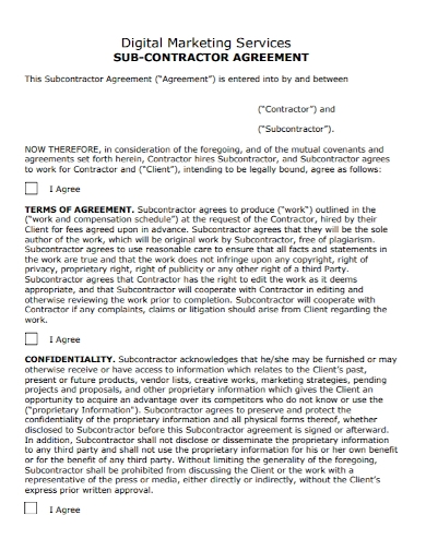 digital marketing services subcontractor agreement