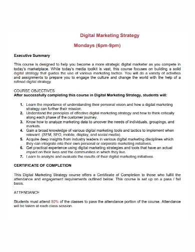 digital marketing strategy executive summary