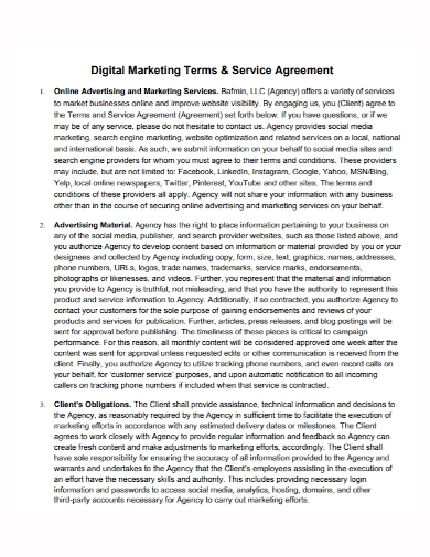 digital marketing terms and services agreement