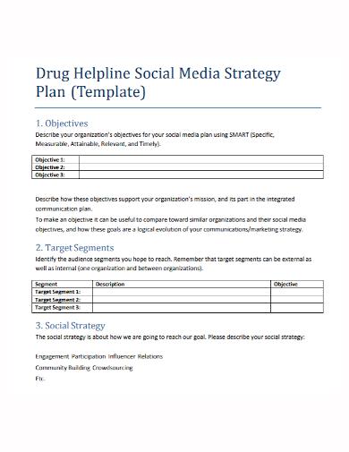 drug helpline social media strategy plan