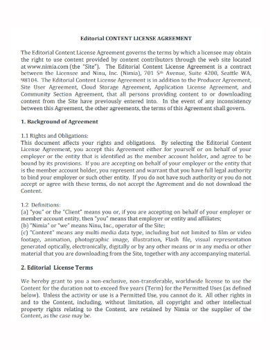 editorial content license agreement