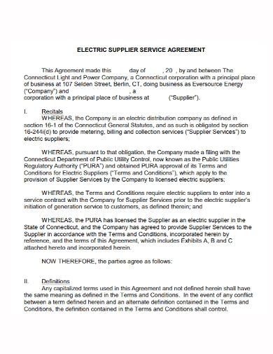 electric supplier service agreement