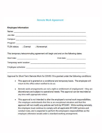 employee remote work agreement