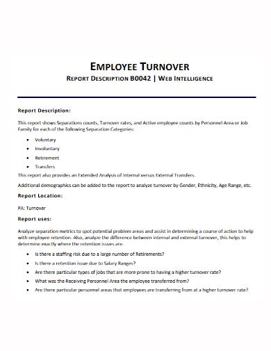 employee turnover description report