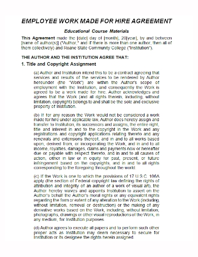 employee work made for hire agreement
