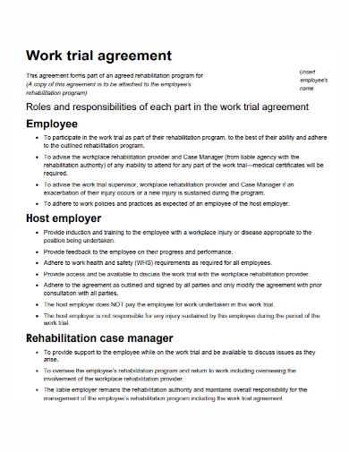 employer work trial agreement