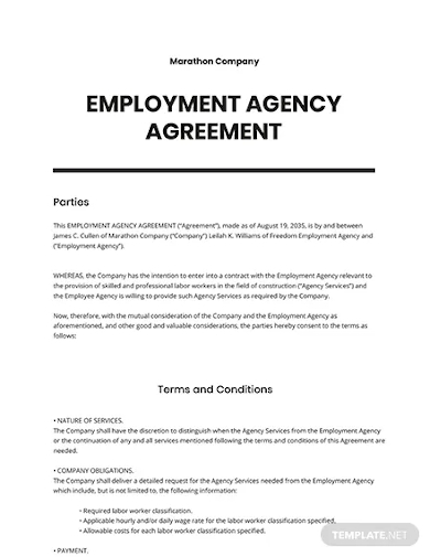 employment agency agreement template