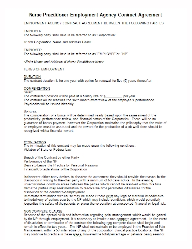 employment agency contract agreement