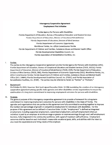 employment agency cooperative agreement