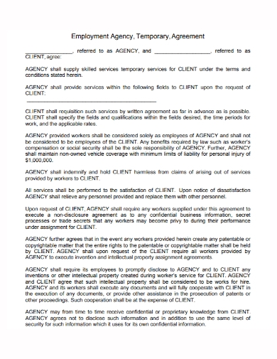 employment agency temporary agreement