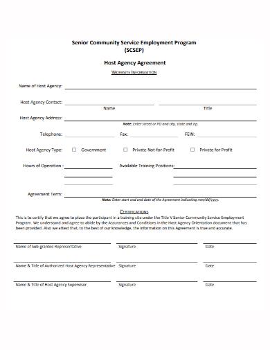 employment program host agency agreement