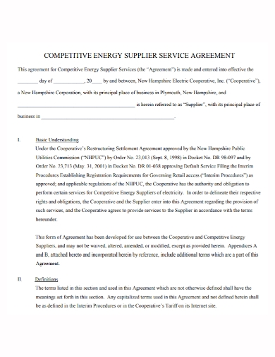 energy supplier service agreement