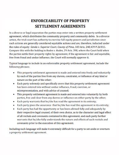 enforcability property settlement agreement