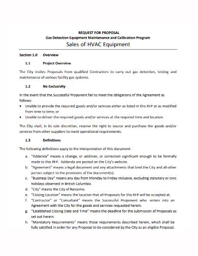 equipment maintenance sales proposal