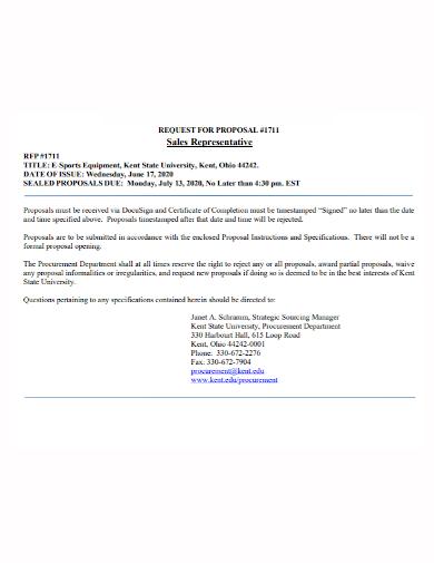 equipment sales representative proposal
