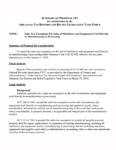 equipment sales tax summary proposal