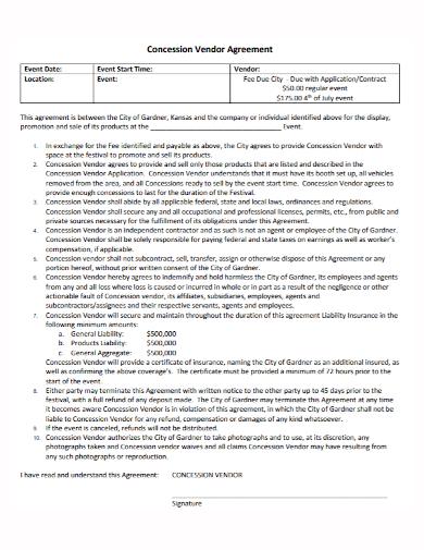 event concession vendor agreement