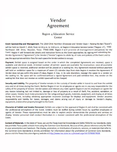 event sponsorship management vendor agreement