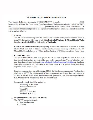 event vendor exhibitor agreement