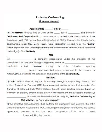 exclusive co branding license agreement